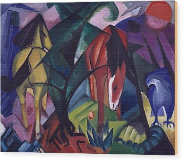 Horse And Eagle Wood Print by Franz Marc