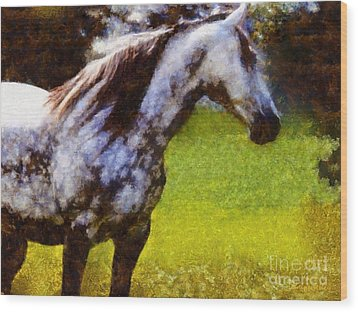 Horse And I Will Wait For You Wood Print by Janine Riley
