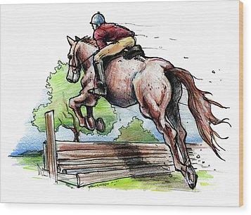 Horse And Rider Wood Print by John Ashton Golden