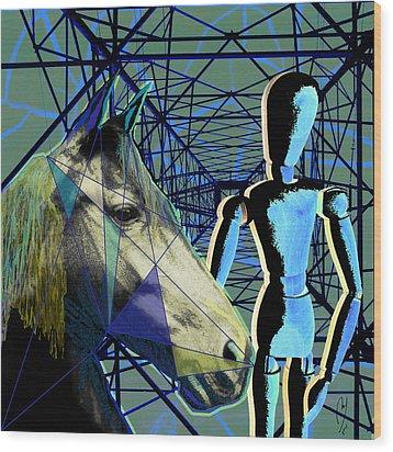 Horse And Rider Wood Print by Maria Jesus Hernandez