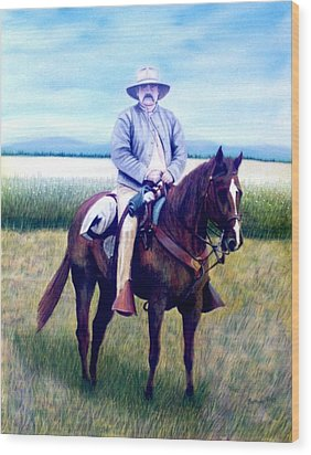 Horse And Rider Wood Print by Stacy C Bottoms