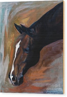 Wood Print featuring the painting horse - Apple copper by Go Van Kampen