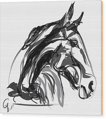 Horse- Apple -digi - Black And White Wood Print by Go Van Kampen