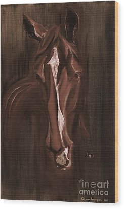 Horse Apple Warm Brown Wood Print by Go Van Kampen