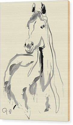 Wood Print featuring the painting Horse - Arab by Go Van Kampen