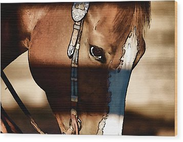 Horse At Work Wood Print by Pamela Blizzard