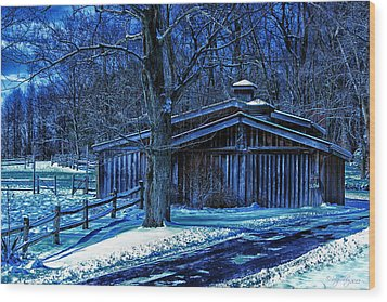 Horse Barn Wood Print by Skip Tribby