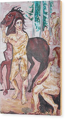 Wood Print featuring the painting Horse Beeing Tied by Anand Swaroop Manchiraju