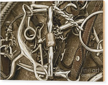 Wood Print featuring the photograph Horse Bits And Reins And Ropes by Lincoln Rogers