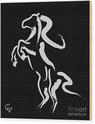 Horse -black And White Beauty Wood Print by Go Van Kampen