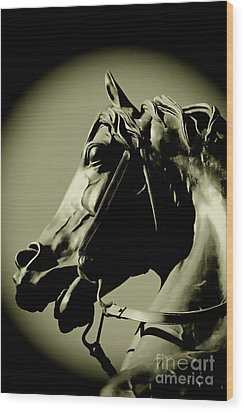 Horse Bronze Wood Print by Craig B