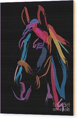 Horse-colour Me Beautiful Wood Print by Go Van Kampen
