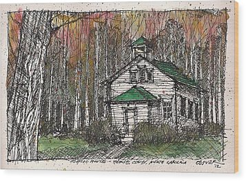 Wood Print featuring the mixed media Horse Cove School by Tim Oliver