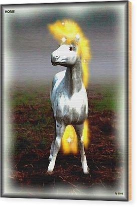 Wood Print featuring the digital art Horse by Daniel Janda