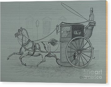 Horse Drawn Cab 1846 Wood Print