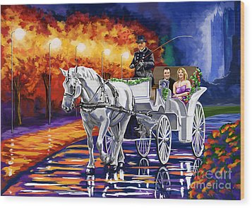 Horse Drawn Carriage Night Wood Print by Tim Gilliland