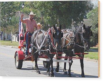 Horse Drawn Cart Wood Print by Carolyn Ricks