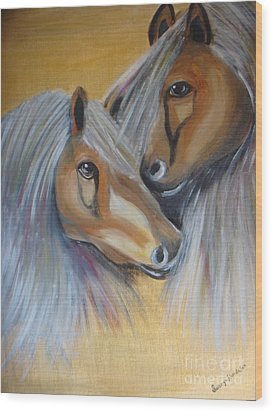 Horse Duo Wood Print by Saranya Haridasan