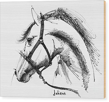 Horse Face Ink Sketch Drawing Wood Print by Daliana Pacuraru