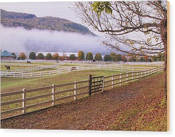 Horse Farm Autumn Wood Print
