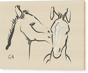 Horse-foals-together 6 Wood Print by Go Van Kampen