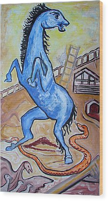 Wood Print featuring the painting Horse  Frightend By A Snake by Anand Swaroop Manchiraju