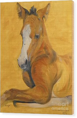 Wood Print featuring the painting horse - Gogh by Go Van Kampen