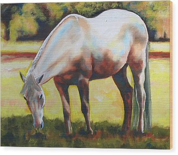 Horse Grazing In The Shade Wood Print