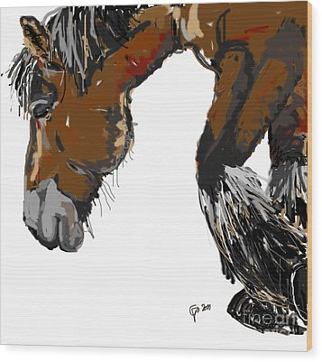 Wood Print featuring the painting horse - Guus by Go Van Kampen