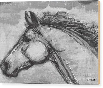 Horse Head Study Wood Print by Elizabeth Coats