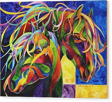 Horse Hues Wood Print by Sherry Shipley
