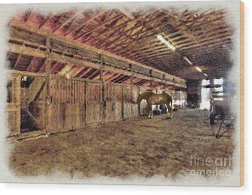 Horse In Barn Wood Print by Dan Friend