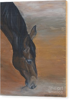 Wood Print featuring the painting horse - Lily by Go Van Kampen