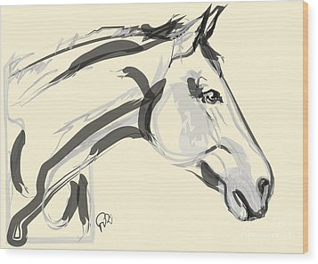 Wood Print featuring the painting Horse - Lovely by Go Van Kampen