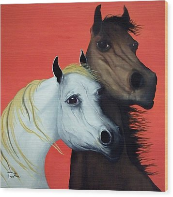 Horse Lovers In Red  Sold Wood Print by Patrick Trotter