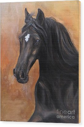 Horse - Lucky Star Wood Print by Go Van Kampen