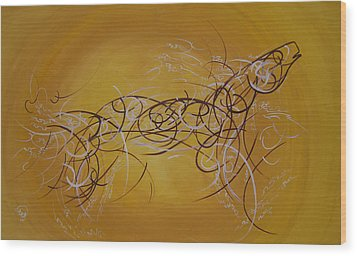 Horse Moving Lines Wood Print by Ali ArtDesign