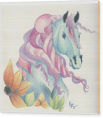 Horse Of A Different Colour Wood Print by Kirsten Slaney
