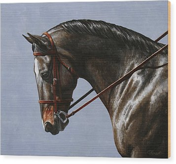Horse Painting - Discipline Wood Print by Crista Forest