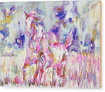 Horse Painting.16 Wood Print by Fabrizio Cassetta