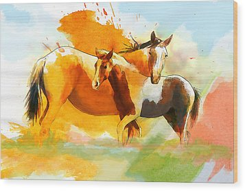 Horse Paintings 013 Wood Print by Catf