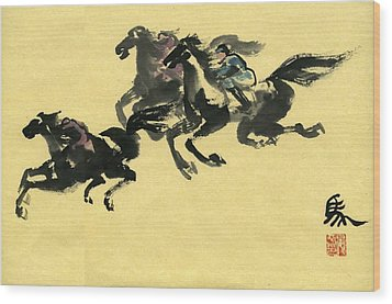 Wood Print featuring the painting Horse  by Ping Yan