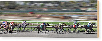Wood Print featuring the photograph Horse Racing by Christine Till