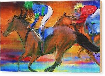 Horse Racing II Wood Print by Lourry Legarde
