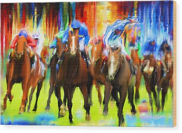 Horse Racing Wood Print by Lourry Legarde