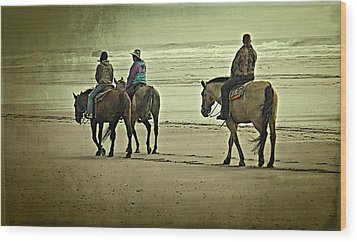 Wood Print featuring the photograph Horseback Riding On The Beach by Thom Zehrfeld