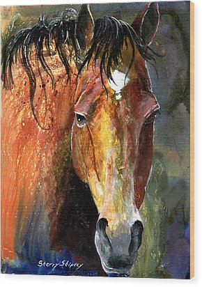 Horse Wood Print by Sherry Shipley