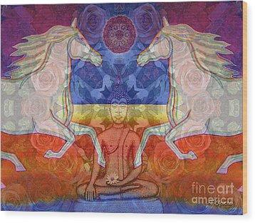 Wood Print featuring the digital art Horse Spirits In The Garden Of The Buddha 2 by Joseph J Stevens