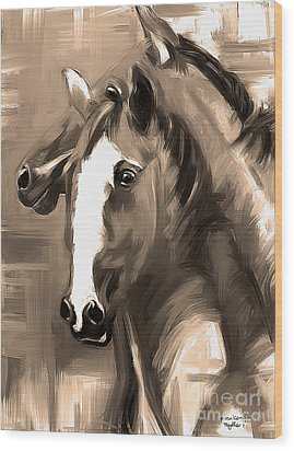 Horse Together 1 Sepia Wood Print by Go Van Kampen