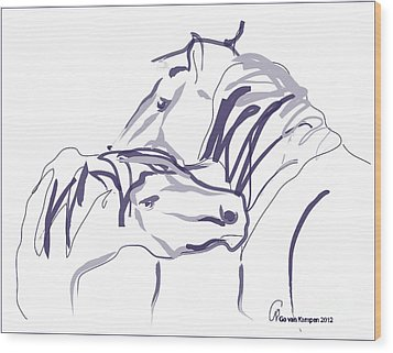 Horse - Together 10 Wood Print by Go Van Kampen